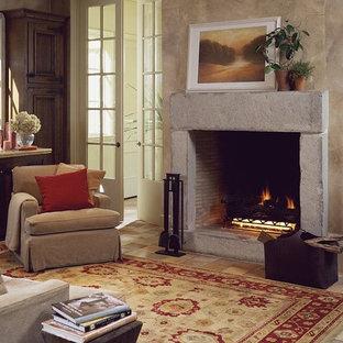 Ispirazione per un piccolo soggiorno tradizionale chiuso con sala formale, pareti beige, pavimento con piastrelle in ceramica, camino classico, cornice del camino in cemento e nessuna TV