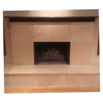 """FIREPLACE - 24"""" x 24"""" x 3/4"""" Marble w/Baltic Brown Granite Mantle"""