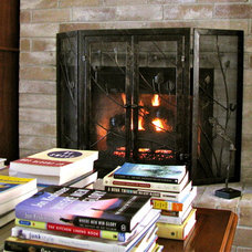 Eclectic Living Room Fireplace and Books