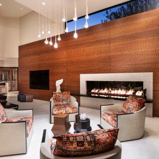 フェニックスの大きいコンテンポラリースタイルのおしゃれなLDK (茶色い壁、両方向型暖炉、木材の暖炉まわり、埋込式メディアウォール、白い床) の写真
