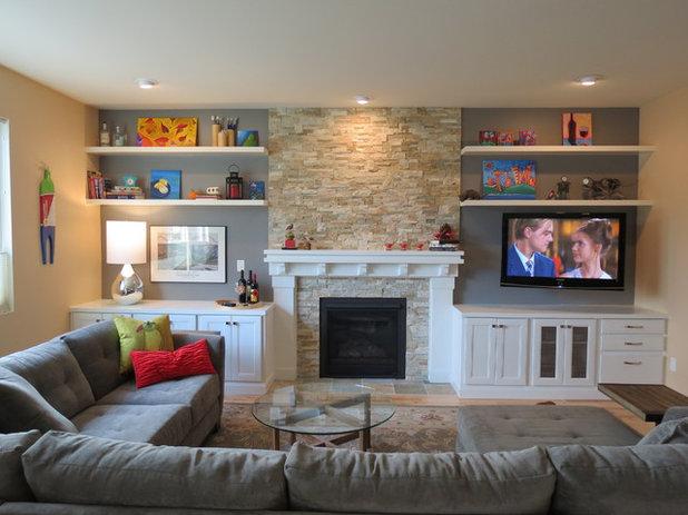 Contemporary Living Room Fireplace