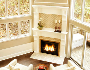 Fireplace in a room with very high ceilings