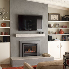 Transitional Living Room Fireplace Mantel