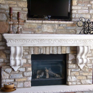 Photo of a classic living room in Other with a standard fireplace and a plastered fireplace surround.