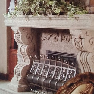 Photo of a classic living room in Other with beige walls, porcelain flooring, a standard fireplace and a stone fireplace surround.