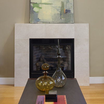Inspiration for a contemporary bamboo floor living room remodel in Dallas with a tile fireplace