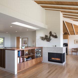 Foto di un soggiorno minimalista di medie dimensioni e stile loft con libreria, pareti bianche, pavimento in legno massello medio, camino ad angolo, cornice del camino in pietra e nessuna TV