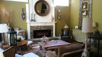 Fireplace Remodel with slate ledger stone and electric insert