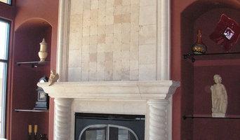 Fireplace Surround Limestone Cast Composite W-Over mantel