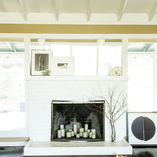 Fireplace with Leaning Art + Candles