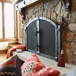 Fireplaces - Custom fireplace screen & corbels.