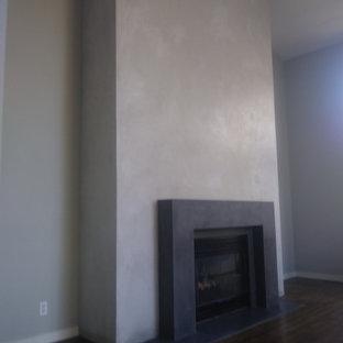 Ispirazione per un piccolo soggiorno moderno chiuso con camino classico e cornice del camino in cemento