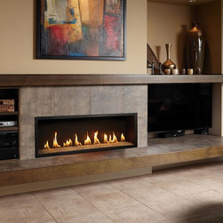 Fireplace Xtrordinair by Travis Industries - FPX 4415 HO GreenSmart Linear Gas Fireplace - Shown with the Black Painted Fireback and Platinum Crushed Glass.