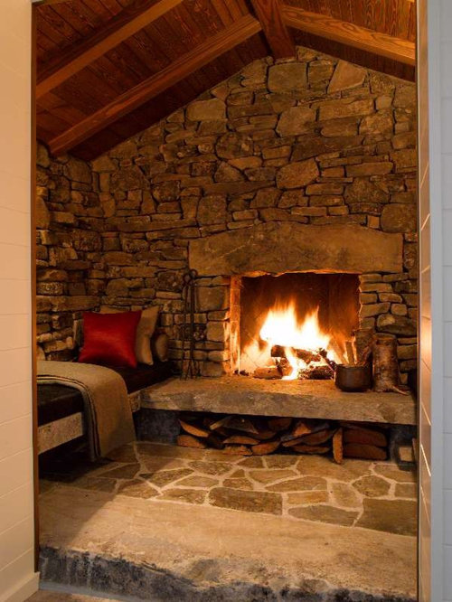 Raised stone hearth home design ideas pictures remodel and decor for Room in your heart living in a box