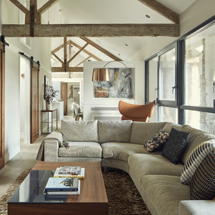 Charmant Example Of A Small Urban Open Concept Medium Tone Wood Floor And Brown  Floor Living Room