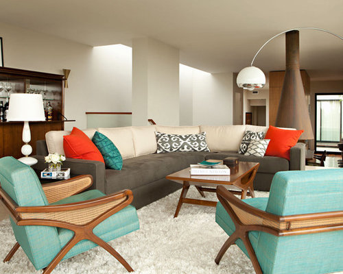 Example of a minimalist living room design in Los Angeles with white walls - Teal And Orange Houzz