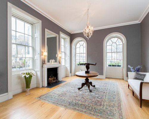Transitional Formal Light Wood Floor Living Room Idea In London With Gray Walls And A Standard