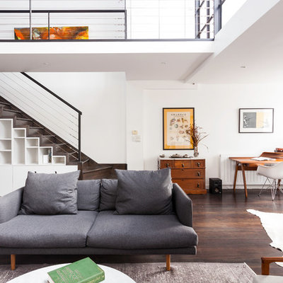 Living room - mid-sized contemporary formal and open concept dark wood floor living room idea in Melbourne