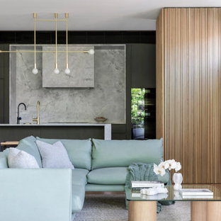 Inspiration for a large contemporary open concept living room in Sydney with light hardwood floors and beige floor.