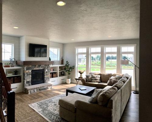 Landhausstil wohnzimmer mit vinylboden ideen design bilder houzz - Vinylboden wohnzimmer ...