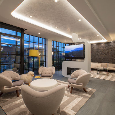 Inspiration for a contemporary open concept porcelain tile and gray floor living room remodel in DC Metro with a two-sided fireplace, a metal fireplace, white walls and a media wall