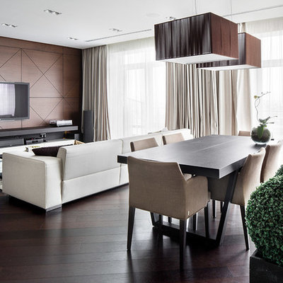 Living room - contemporary open concept living room idea in Other