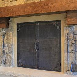 Flat top, gusset corner. - Flat top fireplace doors with copper riveted gusset corners and screen mesh. Four piece fire tool set with stone mounted hooks