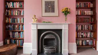 Flat Victorian marble fireplace with cast iron insert