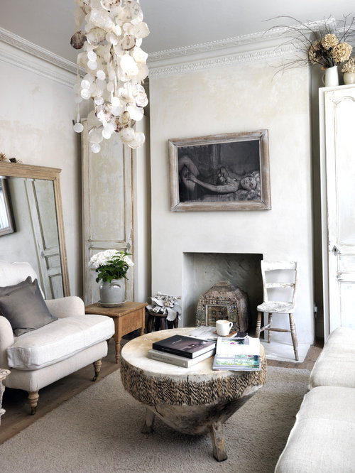 Mid Sized Cottage Chic Enclosed Living Room Photo In London With Beige Walls