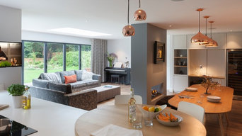 Flexible open plan kitchen with dining, living and work areas