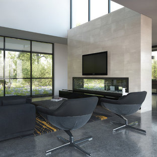 Design ideas for a large modern formal enclosed living room in Melbourne with white walls, concrete flooring, a two-sided fireplace, a tiled fireplace surround and a wall mounted tv.