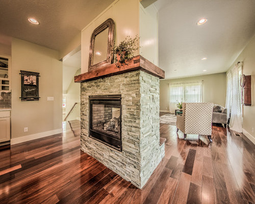 Mid Sized Arts And Crafts Open Concept Dark Wood Floor Living Room Photo In Boise