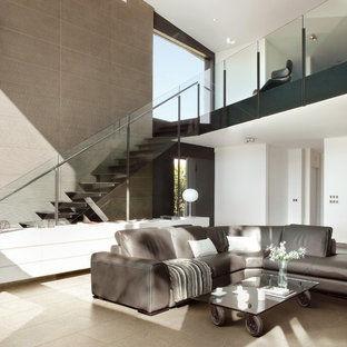 Example of a minimalist formal and open concept porcelain tile living room design in San Francisco with white walls