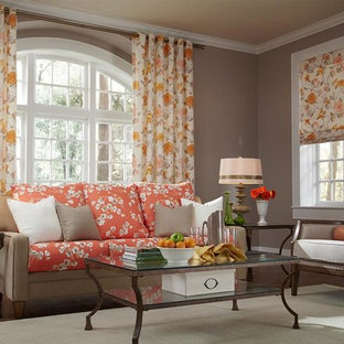 Floral Orange and Yellow Curtains & Draperies of Indianapolis- Custom Styles at