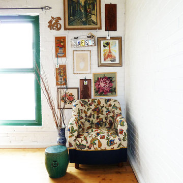 Floral Tufted Chair with Vintage Art