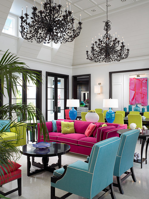 Tropical Living Room Idea In Toronto With White Walls