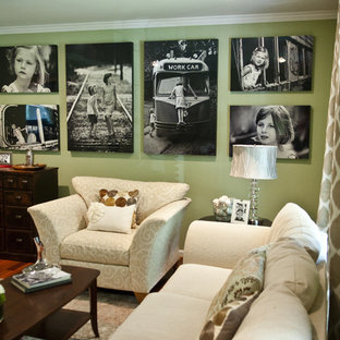 Elegant living room photo in Baltimore with green walls