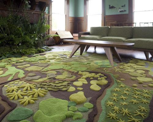 Inspiration for an eclectic dark wood floor living room remodel in Portland  Maine - Tahari Indoor Rugs Houzz