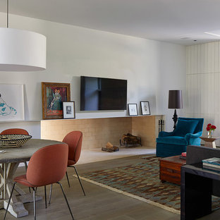 Inspiration For A Contemporary Medium Tone Wood Floor And Brown Living Room Remodel In Austin