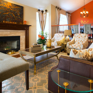 Inspiration for a mid-sized transitional formal and open concept dark wood floor living room remodel in San Francisco with a stone fireplace, no tv, beige walls and a standard fireplace