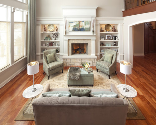 Large Elegant Open Concept Living Room Photo In Chicago With A Standard  Fireplace