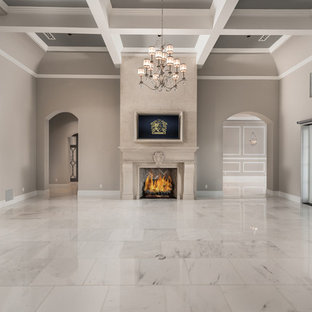 Inspiration for a huge transitional open concept and formal marble floor and gray floor living room remodel in Phoenix with a stone fireplace, a wall-mounted tv, a standard fireplace and beige walls