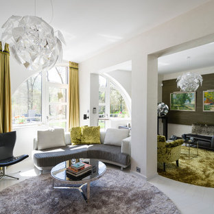 Example of a trendy living room design in Other with white walls
