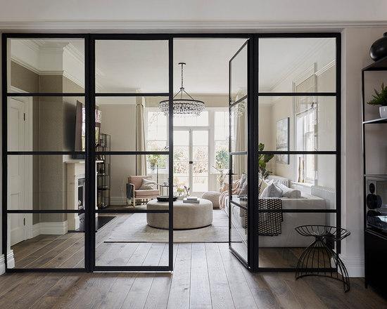 Modern living room design ideas remodels photos houzz for B q living room doors