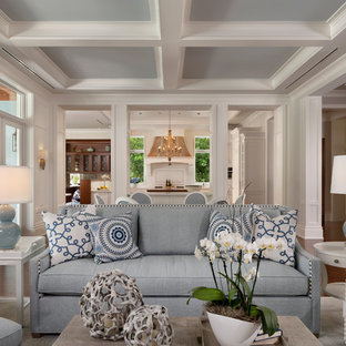 Living room - beach style dark wood floor and brown floor living room idea in Miami with white walls