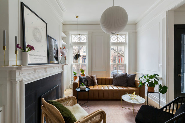 Transitional Living Room by Kate Glicksberg Photography