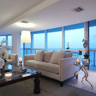 Living room - huge contemporary formal and enclosed porcelain floor and beige floor living room idea in Miami with white walls, no fireplace and no tv