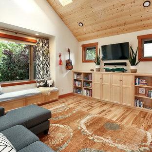 Living Room   Rustic Open Concept Medium Tone Wood Floor And Brown Floor Living  Room Idea