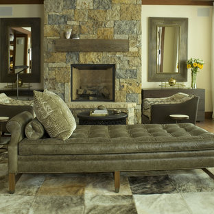 Ordinaire Trendy Living Room Photo In Denver With A Standard Fireplace And A Stone  Fireplace