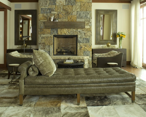 High Quality Trendy Living Room Photo In Denver With A Standard Fireplace And A Stone  Fireplace